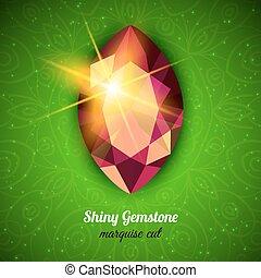Gemstone on dark background - Shiny Gemstone Marquise Cut on...
