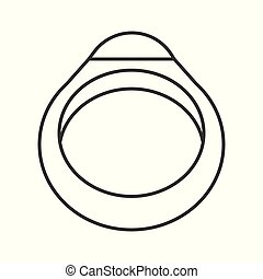 gemstone ring, jewelry related outline vector icon