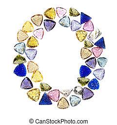 Gemstones alphabet, letter O. Isolated on white background.