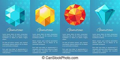 Gemstones Banner Collection on Vector Illustration