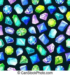 gemstones, edelsteenen, seamless, model, juwelen, kristallen