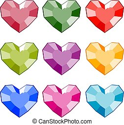 Gemstones in the shape of a heart. Isolated vector image.