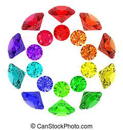 Gemstones kaleidoscope of rainbow colours isolated on white. High resolution 3D image