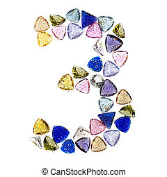 Gemstones numbers collection, figure 3. Isolated on white...