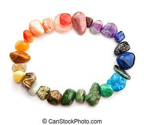 Gemstones oval frame - Semiprecious gemstones of various...