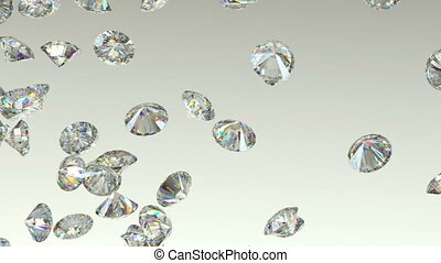 Gemstones scatter and fly away over gradient background with...