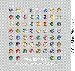 Gemstones set - Clear polished gems icons collection - set...