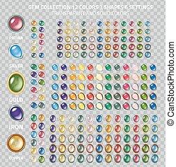 Gemstones set - Large gems icons collection - set of 250 gem...