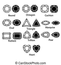 Gemstones vector gem cut isolated set jewelry diamond white crystal illustration. Jewel black silhouette stone
