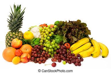 gemuese, einige, früchte