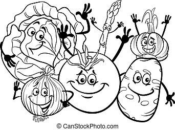 gemuese, färbung, gruppe, buch, karikatur