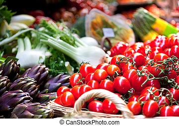 gemuese, früchte, anordnung