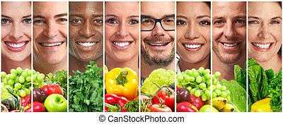 gemuese, leute, früchte