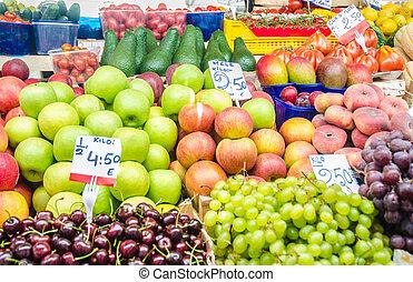 gemuese, stall, markt, früchte