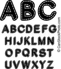 genäht, alphabet, vektor, schwarz, weißes, schriftart