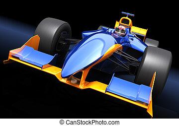 genérico, azul, coche de la raza