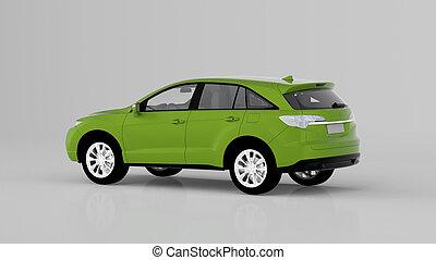 genérico, car, isolado, costas, suv, fundo, verde branco, vista