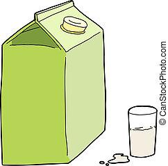 genérico, cartón, leche