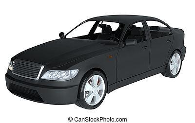 genérico, ilustración, coche., negro, brandless, 3d
