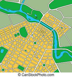 genérico, mapa, urbano, ciudad