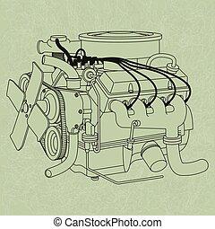 genérico, motor carro