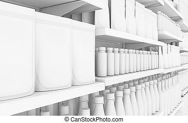 genérico, prateleira, produtos, supermercado