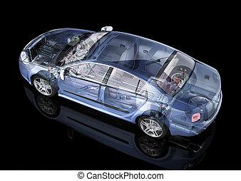 genérico, sedán, coche, detallado, cutaway, representación,...