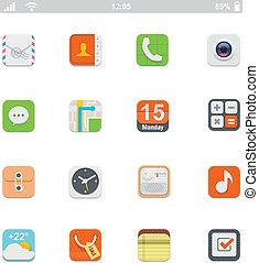 genérico, smartphone, ui, ícones
