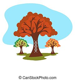genético, árvore, família, história