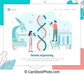 genético, aterragem, engenharia, página
