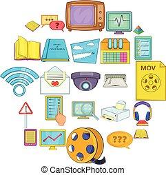 Gen icons set, cartoon style - Gen icons set. Cartoon set of...