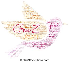 Gen Z word cloud on a white background.