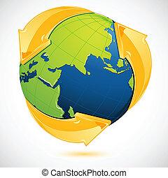 genbrug, jord, symbol, omkring