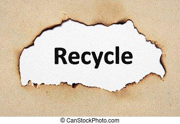genbrug, tekst, på, avis, hul