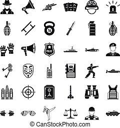 Gendarme icons set, simple style - Gendarme icons set....