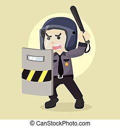 gendarme, tenue, émeute