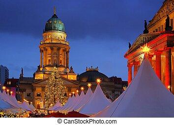 gendarmenmarkt, berlín, navidad, mercado