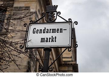 gendarmenmarkt, señal, alemania, camino, berlín