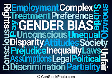 Gender Bias Word Cloud on Blue Background