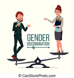 Gender Discrimination And Human Comparison Vector. Male And...
