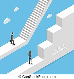 Gender discrimination and inequality isometric flat vector concept.