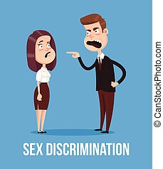 Gender discrimination concept. Angry boss man screaming at woman character employee office worker. Vector flat cartoon illustration