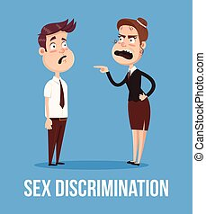 Gender discrimination concept. Angry boss woman screaming at man character employee office worker. Vector flat cartoon illustration