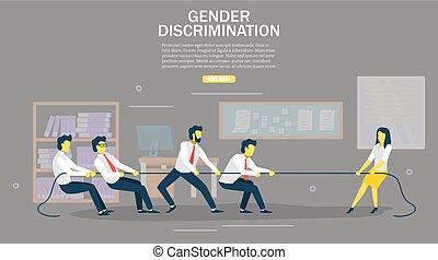 Gender discrimination vector web banner design template -...