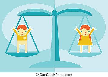 Gender Equality - A concept for gender equality or women's...