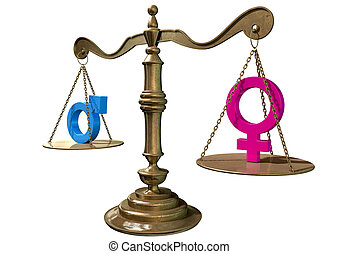 Gender Equality Balancing Scale - A gold justice scale with ...