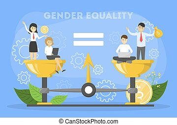 Gender equality concept. Female and male character with equal rights. Balance in salary. Vector illustration in cartoon style
