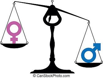 gender equality symbols - simpe illustration of a balance...