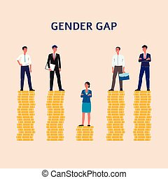 Gender gap and inequality in salary concept flat vector illustration isolated.