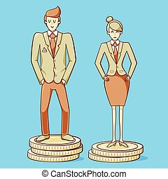 Gender gap, man and woman are getting different salary, ...
